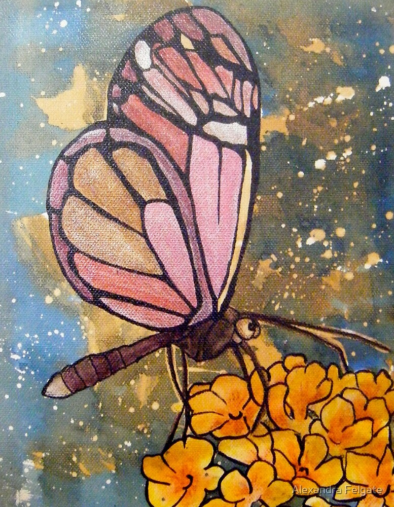 Butterfly with Yellow Flowers by Alexandra Felgate