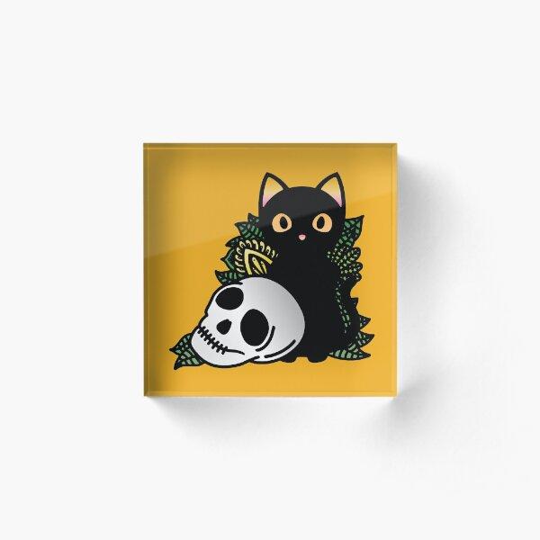 Cat and Skull Ornamental Acrylic Block