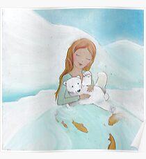 Girl loves baby Polar Bear Poster