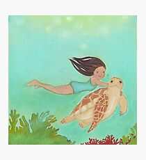 Girl and Turtle, swimming together Photographic Print