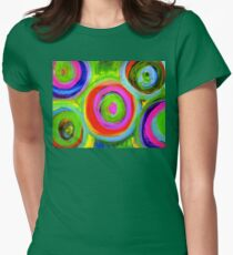 Mixed Media Circles  Womens Fitted T-Shirt