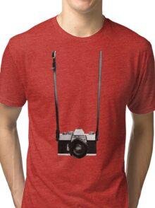 Digital camera isolated on white background DSLR on T-Shirt Tri-blend T-Shirt
