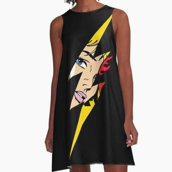 Pop art, Roy Lichtenstein Style, lightning bolt A-Line Dress