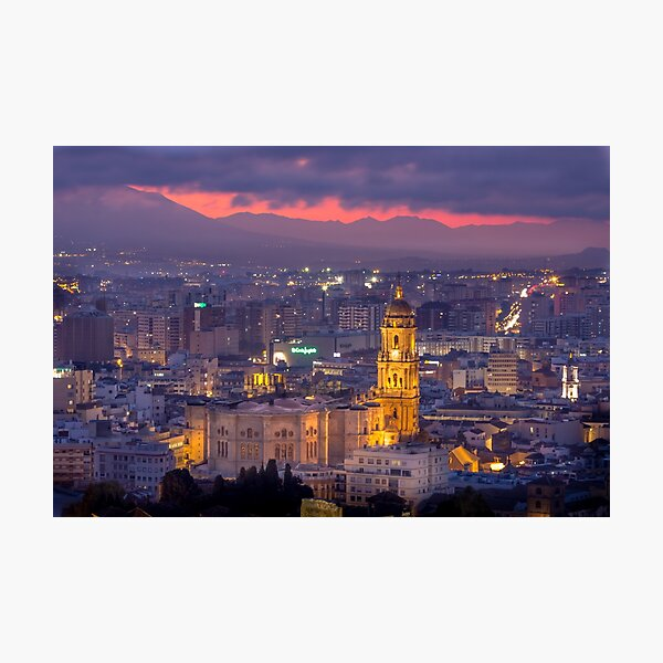 Malaga cathedral sunset view  Photographic Print