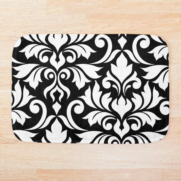Flourish Damask Art I White on Black Bath Mat