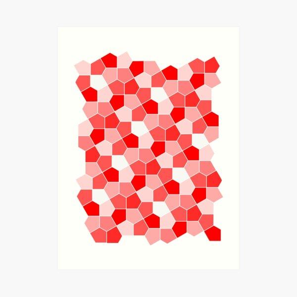 Cairo Pentagonal Tiles Red Art Print