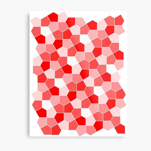 Cairo Pentagonal Tiles Red Metal Print
