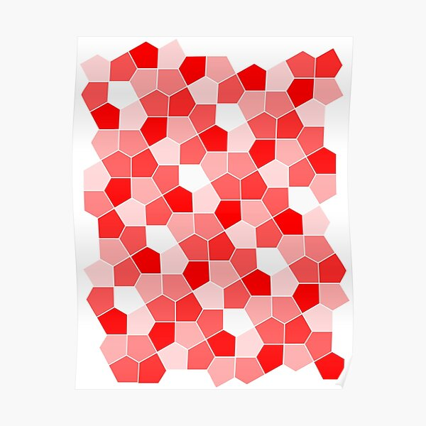 Cairo Pentagonal Tiles Red Poster