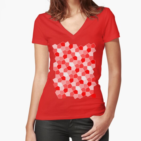 Cairo Pentagonal Tiles Red Fitted V-Neck T-Shirt