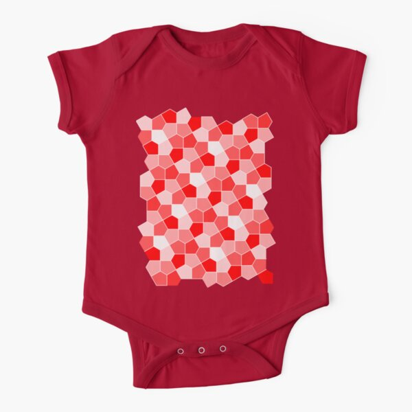 Cairo Pentagonal Tiles Red Short Sleeve Baby One-Piece