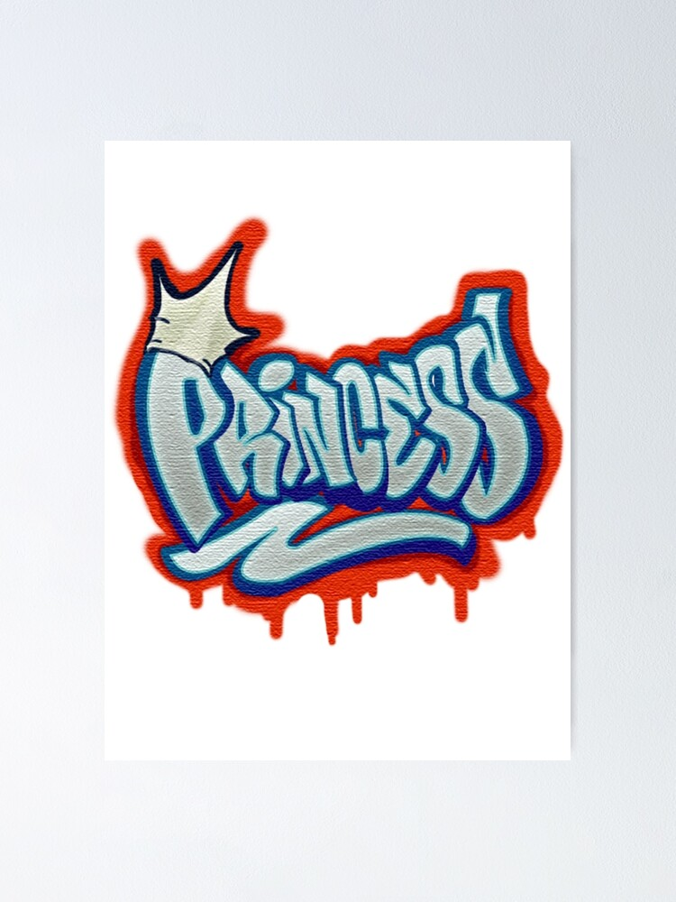 airbrush princess in graffiti style poster by eyoubree redbubble