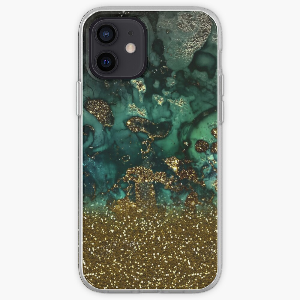 Malachite Green Marble and Gold Glitter iPhone Case & Cover