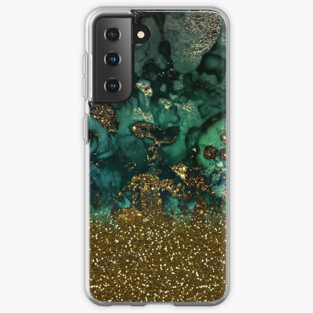 Malachite Green Marble and Gold Glitter Case & Skin for Samsung Galaxy