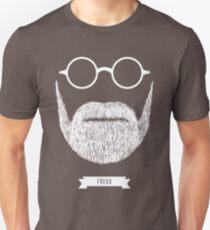Camiseta unisex Barbas con gafas - Sigmund Freud en blanco