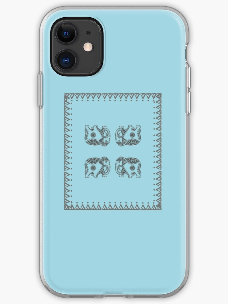 Ancient Indian Traditional Art Work Four Elephant In Square Border Art Neck Gator Vintage Gray Color Design With Light Blue Background Iphone Case Cover By Dukedoctor Redbubble