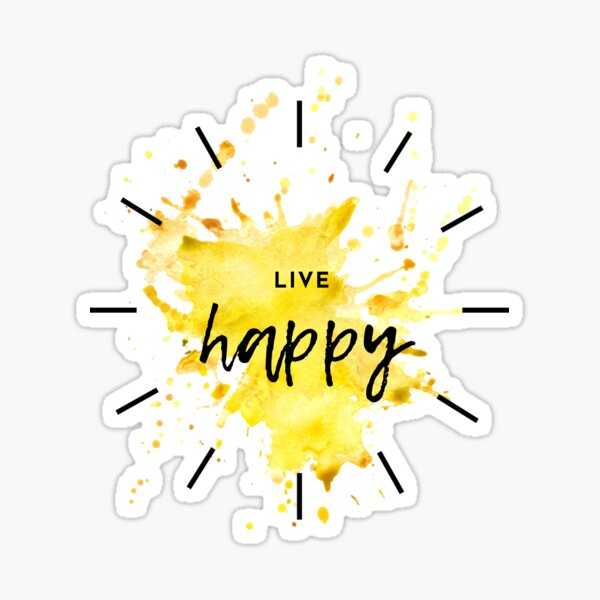 Live Happy Intentional Living Watercolor Inspirational Quote Sticker