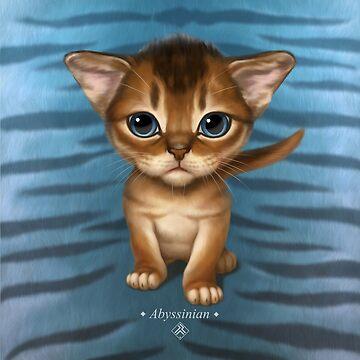 Cat-a-clysm: Abyssinian kitten, blue tiger pattern. by ikerpazstudio