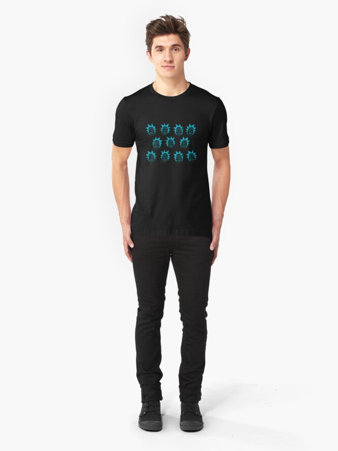 Alternate view of 50 shades of rick pattern  Slim Fit T-Shirt