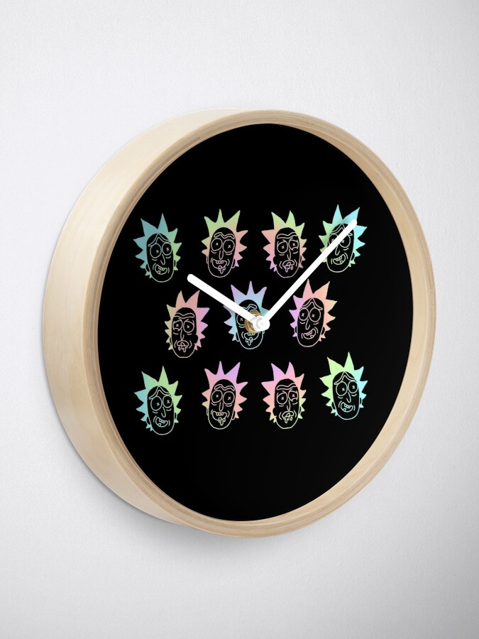 Alternate view of 50 shades of rick pattern colorful Clock