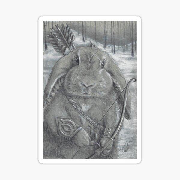 Rabbit Art Print Warrior Art Bunny Art Celtic Knots Bow and Arrow Sticker