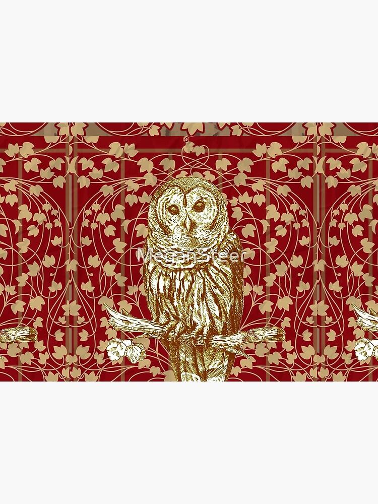 Art Nouveau Owl in Red by MeganSteer