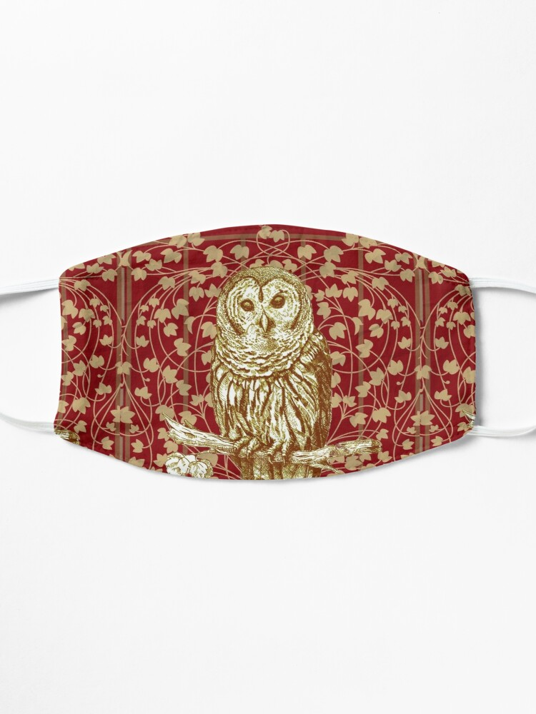 Alternate view of Art Nouveau Owl in Red Mask