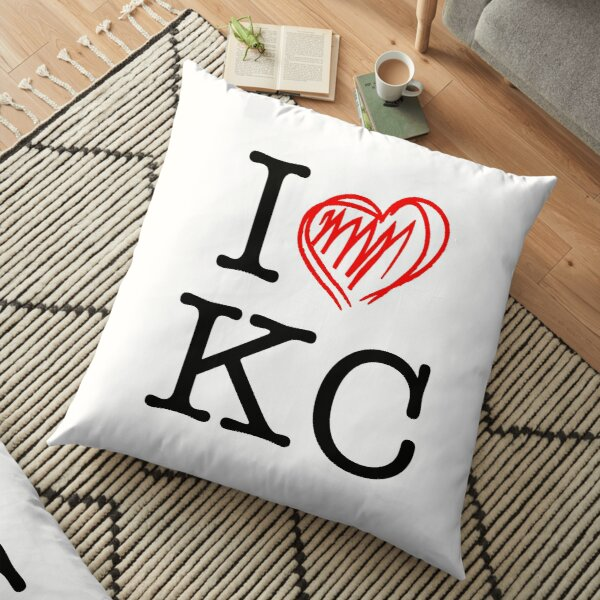 I HEART KC (black text) Floor Pillow