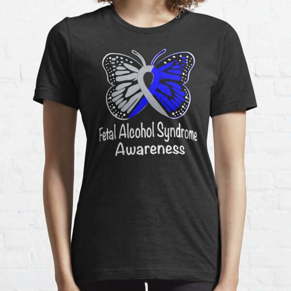 Fetal Alcohol Syndrome Awareness Warrior Support Survivor Blue & Silver Ribbon Gifts  Essential T-Shirt