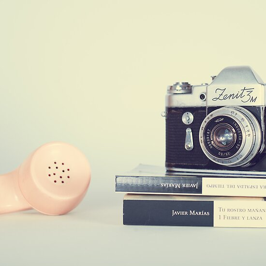 Vintage Camera and Retro Telephone  by Caroline Mint