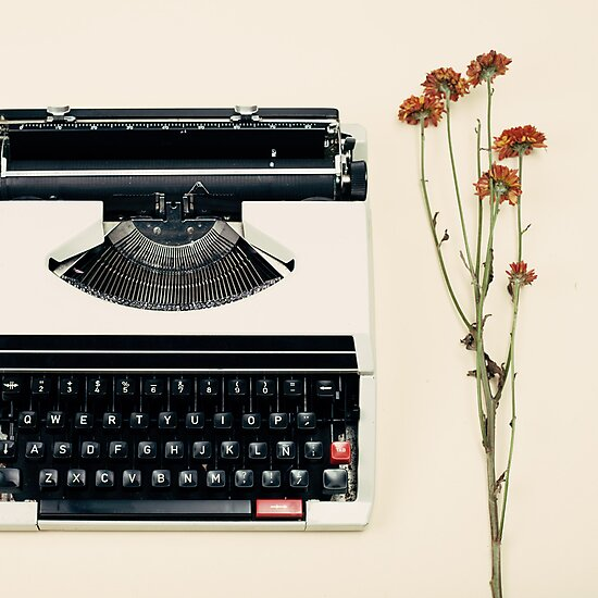 Retro Typewriter and Dried Flowers  by Caroline Mint
