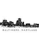 Baltimore, Maryland City Skyline Vintage Black by theshirtshops