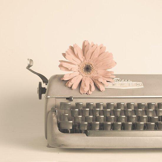 Soft Typewriter and Pink Flower  by Caroline Mint