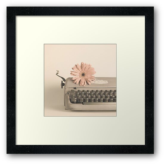 Soft Typewriter and Pink Flower  by Caroline Mint