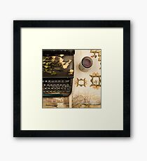 Typewriter, Tea and Dried Flowers  Framed Print