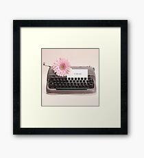 Pink Flower and Typewriter  Framed Print