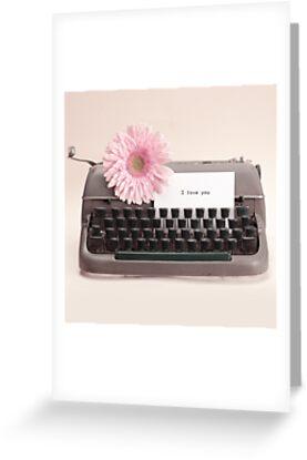 Pink Flower and Typewriter  by Caroline Mint