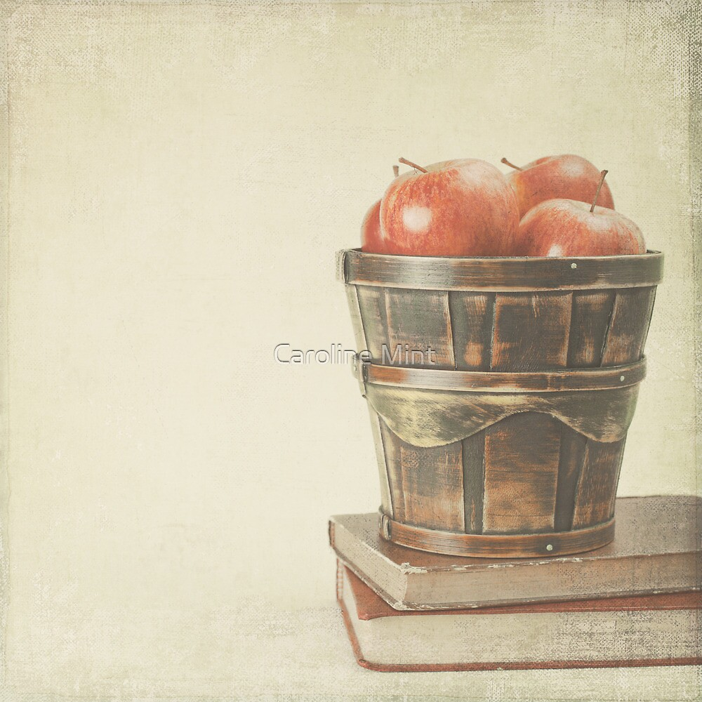 Old Books and Apples  by Caroline Mint