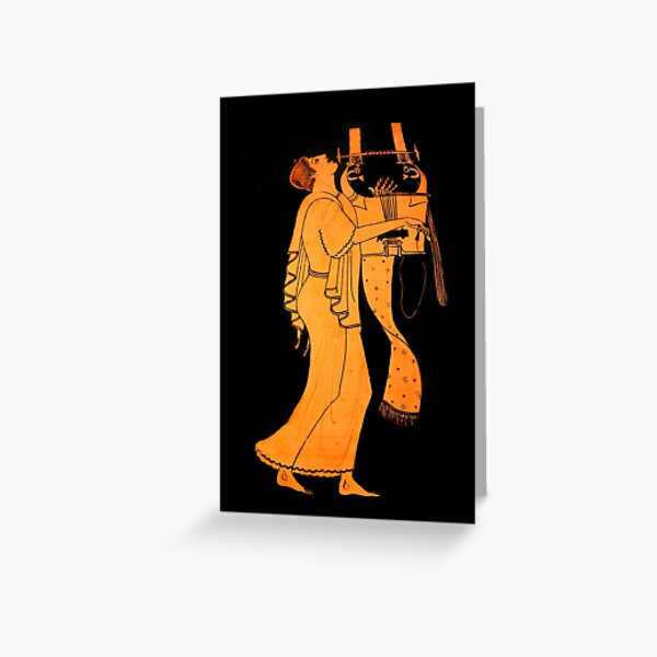 Attic Greek Lyre player by the Berlin Painter Greeting Card
