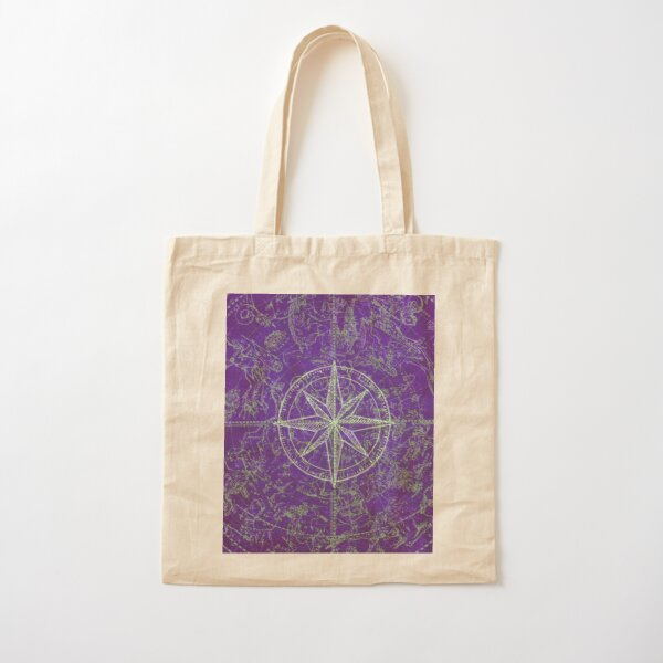 Map of the Heavens in Purple Cotton Tote Bag