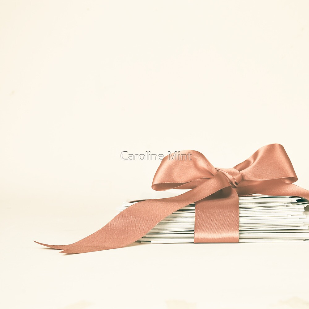 Vintage and Romantic Letters envelop in a Pink Ribbon  by Caroline Mint
