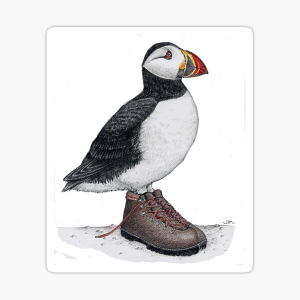 Puffin in hiking boots Sticker
