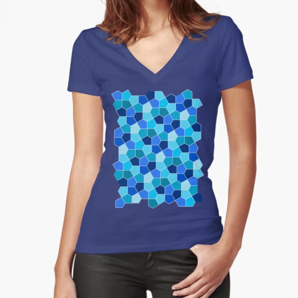 Cairo Pentagonal Tiles Cyan Blue Fitted V-Neck T-Shirt