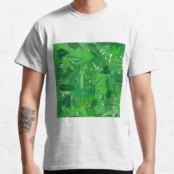 Busy Green Leaves Pattern Classic T-Shirt