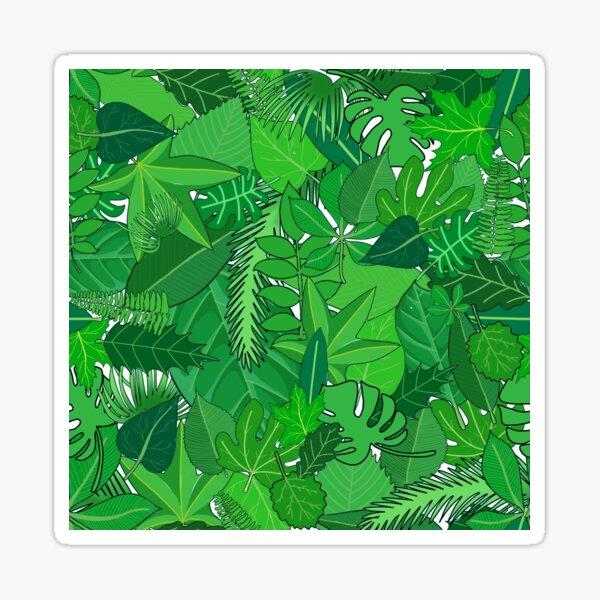 Busy Green Leaves Pattern Sticker