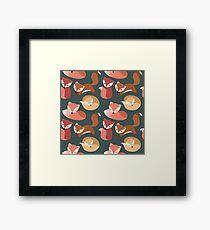 Cute Woodland Fox Seamless Pattern Framed Print