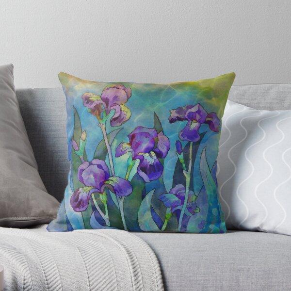 Irises watercolor Throw Pillow