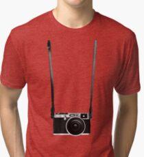 Vintage retro 35mm metal rangerfinder camera on isolated white background. Tri-blend T-Shirt