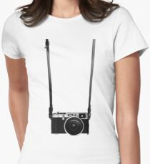 Vintage retro 35mm metal rangerfinder camera on isolated white background. T-Shirt