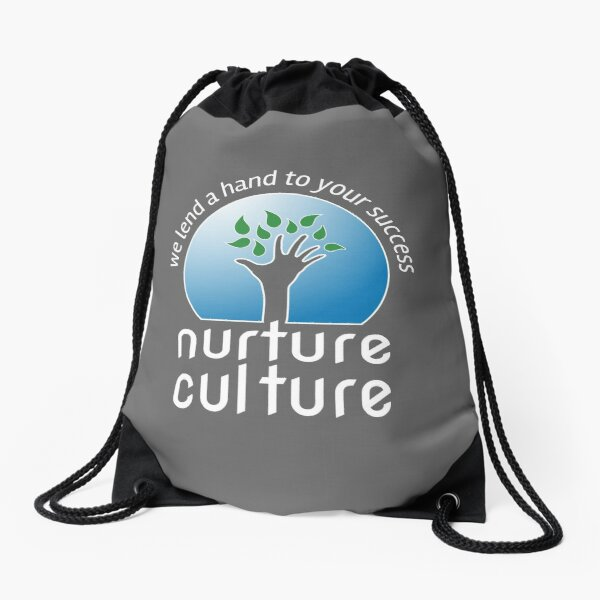 Nurture Culture [white outline] Drawstring Bag