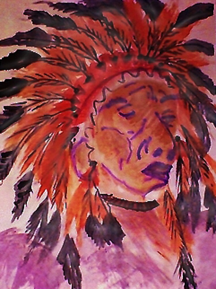 The Chief, watercolor by Anna  Lewis, blind artist
